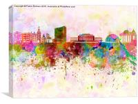 Geneva skyline in watercolor background, Canvas Print
