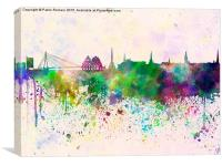 Riga skyline in watercolor background, Canvas Print