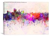 Perth skyline in watercolor background, Canvas Print