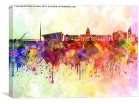 Dublin skyline in watercolor background, Canvas Print