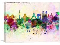 Paris skyline in watercolor background, Canvas Print