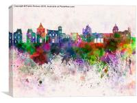 Palermo skyline in watercolor background, Canvas Print
