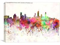 Gold Coast skyline in watercolor background, Canvas Print