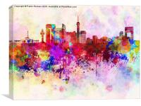 Jeddah skyline in watercolor background, Canvas Print
