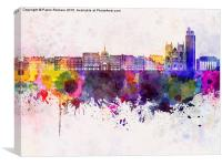 Nantes skyline in watercolor background, Canvas Print