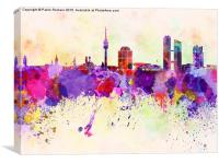 Munich skyline in watercolor background, Canvas Print