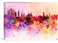 Moscow skyline in watercolor background, Canvas Print