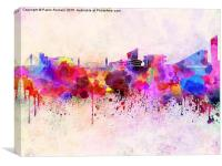Manchester skyline in watercolor background, Canvas Print