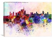 Milan skyline in watercolor background, Canvas Print