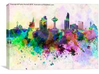Khobar skyline in watercolor background, Canvas Print