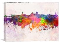 Florence skyline in watercolor background, Canvas Print