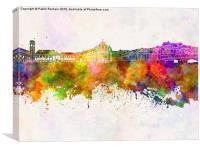 Coimbra skyline in watercolor background, Canvas Print