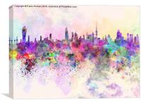 Kuwait City skyline in watercolor background, Canvas Print