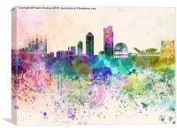 Lyon skyline in watercolor background, Canvas Print