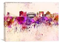 Bucharest skyline in watercolor background, Canvas Print