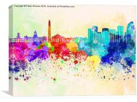Buenos Aires skyline in watercolor background, Canvas Print
