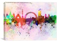 Kiev skyline in watercolor background, Canvas Print
