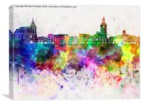 Brasov skyline in watercolor background, Canvas Print