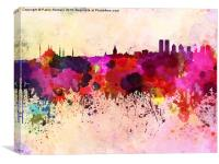 Istanbul skyline in watercolor background, Canvas Print
