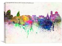 Sofia skyline in watercolor background, Canvas Print