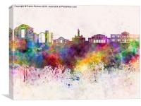 Nicosia skyline in watercolor background, Canvas Print