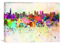 Tel Aviv skyline in watercolor background, Canvas Print