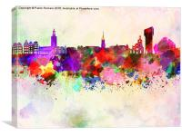 Stockholm skyline in watercolor background, Canvas Print
