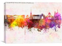 Saint Petersburg skyline in watercolor background, Canvas Print