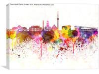 Stuttgart skyline in watercolor background, Canvas Print