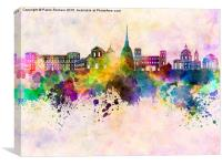 Turin skyline in watercolor background, Canvas Print