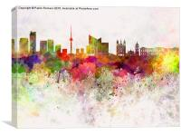 Vilnius skyline in watercolor background, Canvas Print