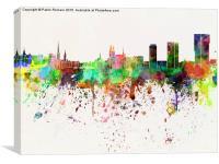 Zurich skyline in watercolor background, Canvas Print