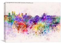 Tallinn skyline in watercolor background, Canvas Print