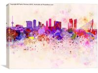 Rotterdam skyline in watercolor background, Canvas Print