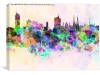 Vienna skyline in watercolor background, Canvas Print