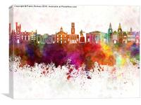 Aberdeen skyline in watercolor background, Canvas Print