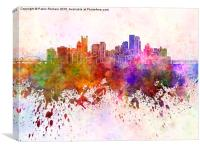 Pittsburgh skyline in watercolor background, Canvas Print