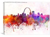 St Louis skyline in watercolor background, Canvas Print