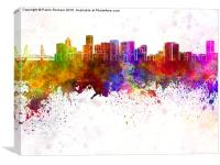Portland skyline in watercolor background, Canvas Print