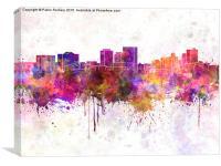 El Paso skyline in watercolor background, Canvas Print