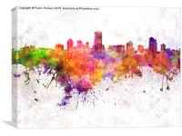 Milwaukee skyline in watercolor background, Canvas Print