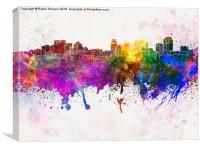 Salt Lake City skyline in watercolor background, Canvas Print