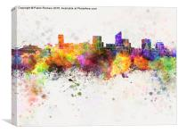 Wichita skyline in watercolor background, Canvas Print
