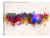 Albuquerque skyline in watercolor background, Canvas Print