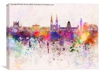 Belfast skyline in watercolor background, Canvas Print