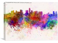 Mexico City skyline in watercolor background, Canvas Print