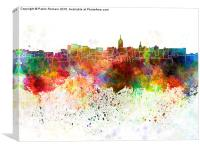 Lansing skyline in watercolor background, Canvas Print