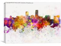 Omaha skyline in watercolor background, Canvas Print
