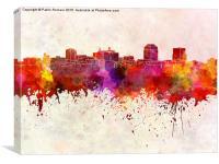Colorado Springs skyline in watercolor background, Canvas Print