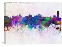 Buffalo skyline in watercolor background, Canvas Print